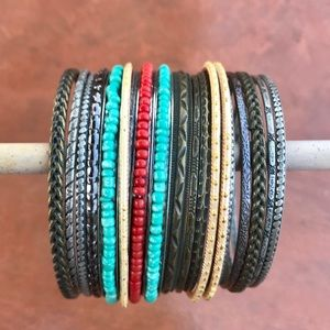 20 bangles BRACELETS turquoise coral silver gold